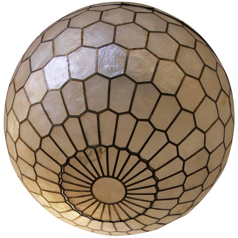 stunning capiz shell and brass globe chandelier at 1stdibs. Black Bedroom Furniture Sets. Home Design Ideas