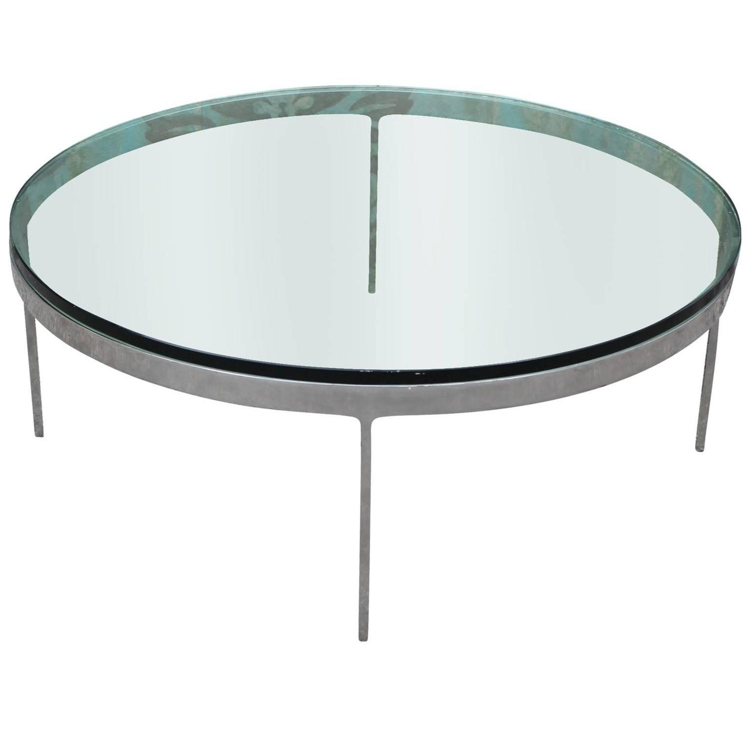 Excellent Steel And Glass Nicos Zographos Round Coffee Table At