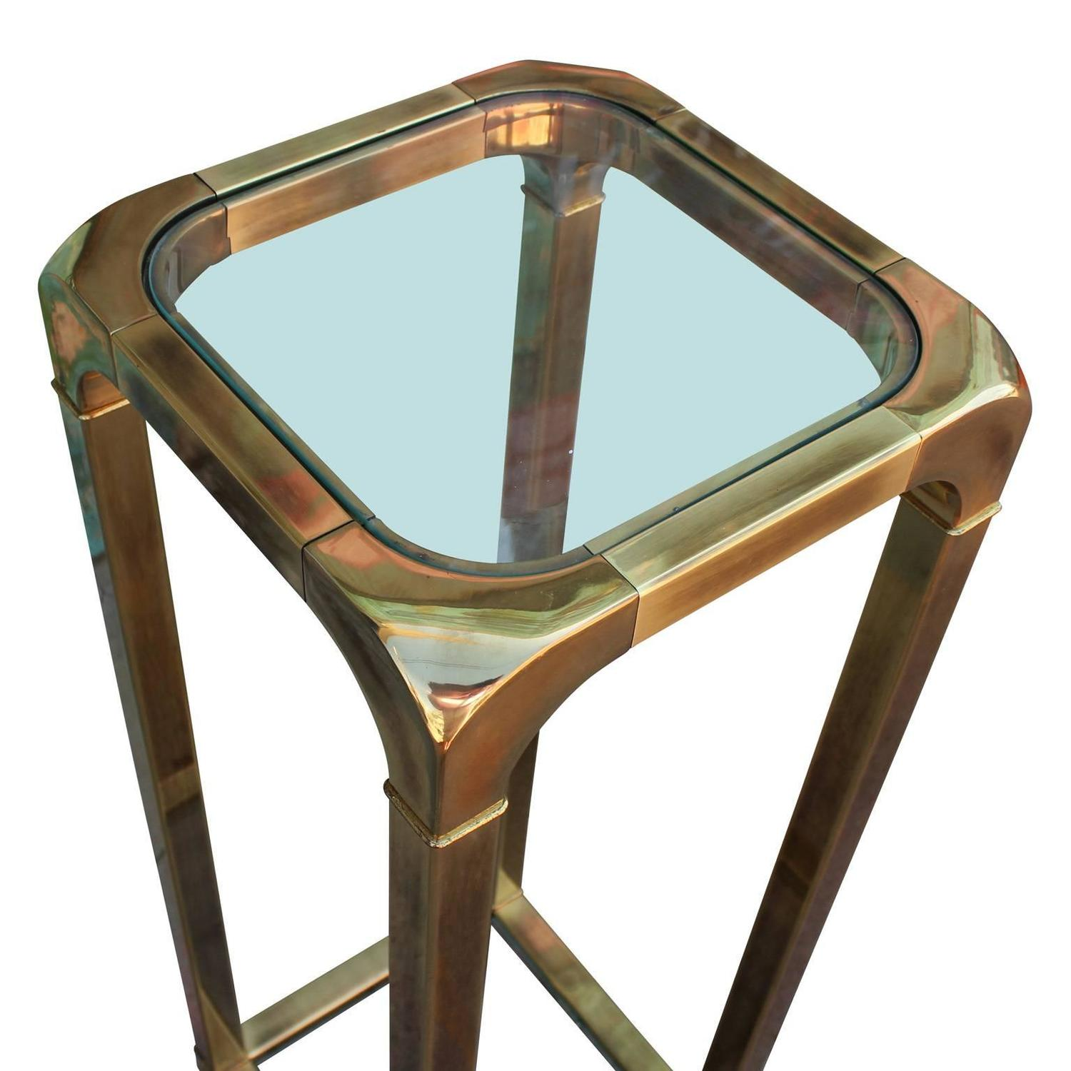 Mastercraft Brass And Glass Pedestal Or Accent Table For
