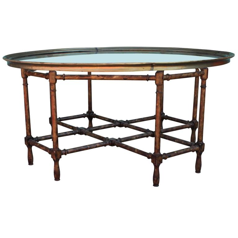 Baker Coffee Table Round: Modern Faux Bamboo Glass Tray Topped Coffee Table By Baker