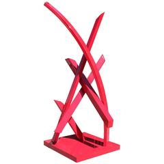 Monumental Large Red Abstract Outdoor Sculpture