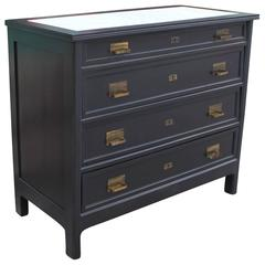 Handsome Ebonized Dresser with Carrera Marble and Brass Hardware