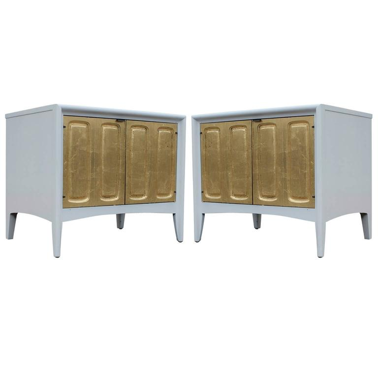 Glam Pair of Modern Gold Leaf and White Lacquer Night Stands