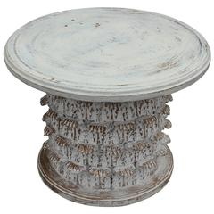 Greco Roman Style Corinthian Capital Gesso Side Table in White with Gold Accents