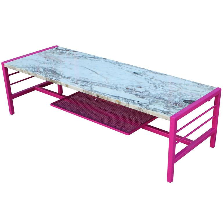 Modern Carrara Rectangular Coffee Table with Marble Top and Hot