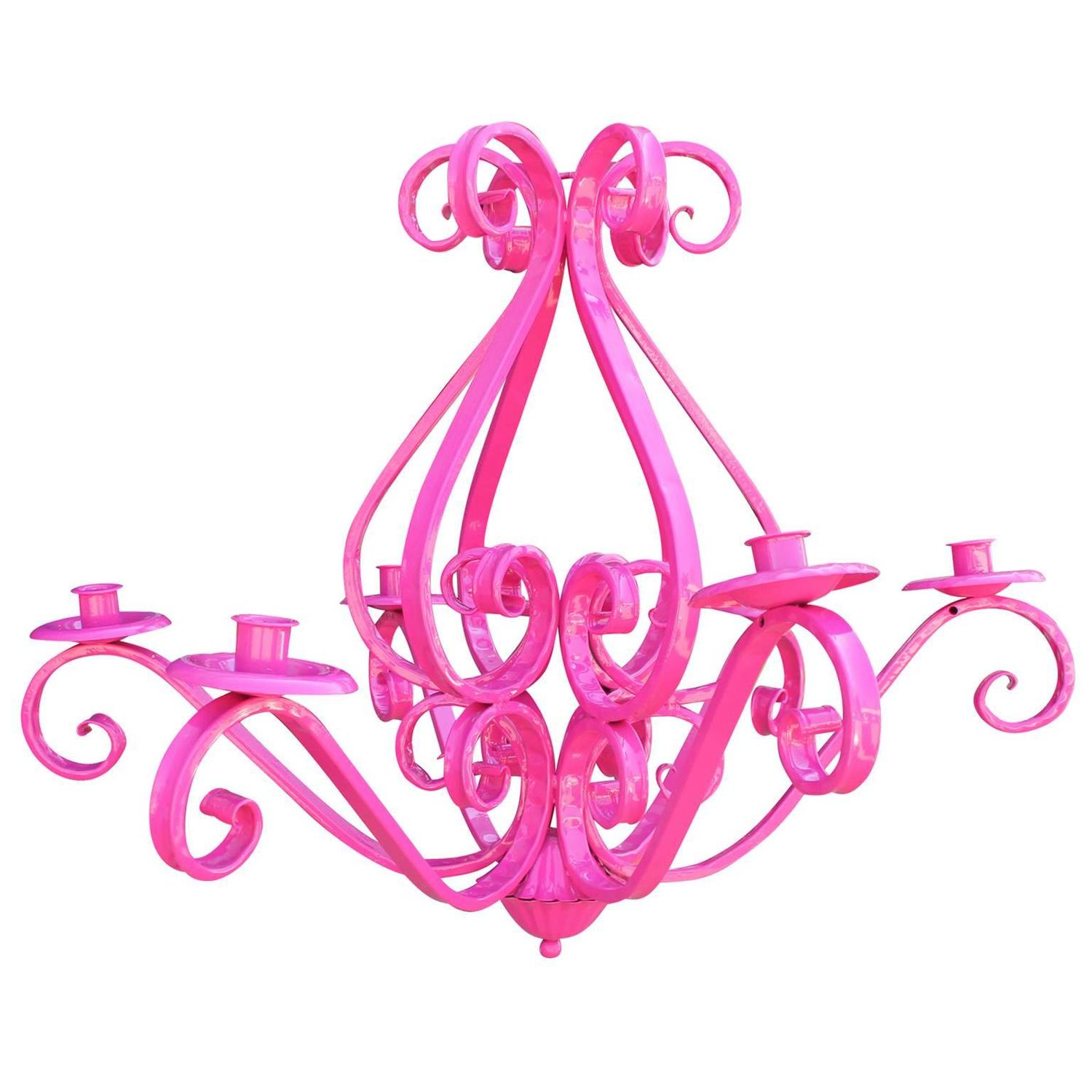 Charming Hot Pink Cast Iron Chandelier Light Fixture For