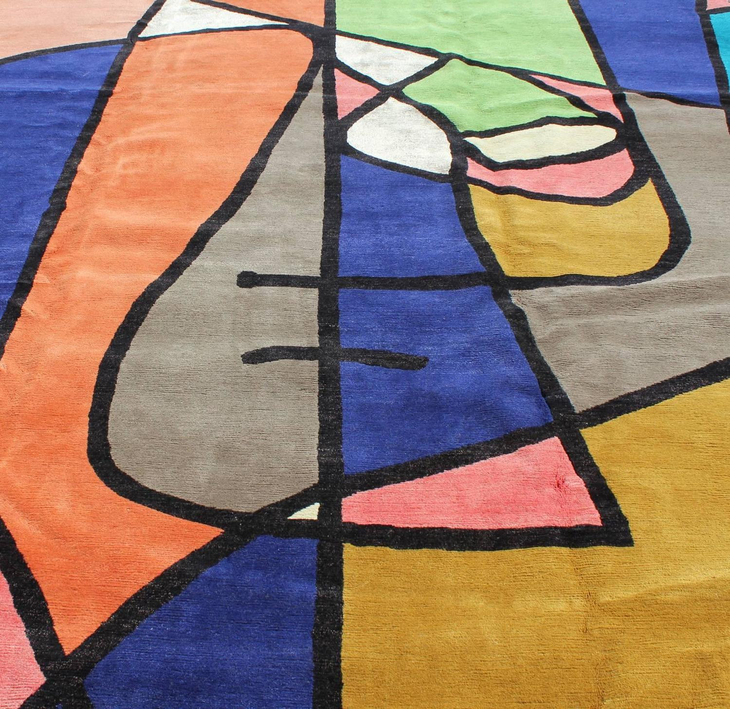 Large Contemporary Abstract Wool Rug At 1stdibs