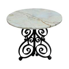 Round Onyx and Wrought Iron Occasional Table