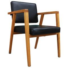 Franco Albini for Knoll Modern Armchair in Black Leather and Birch Wood