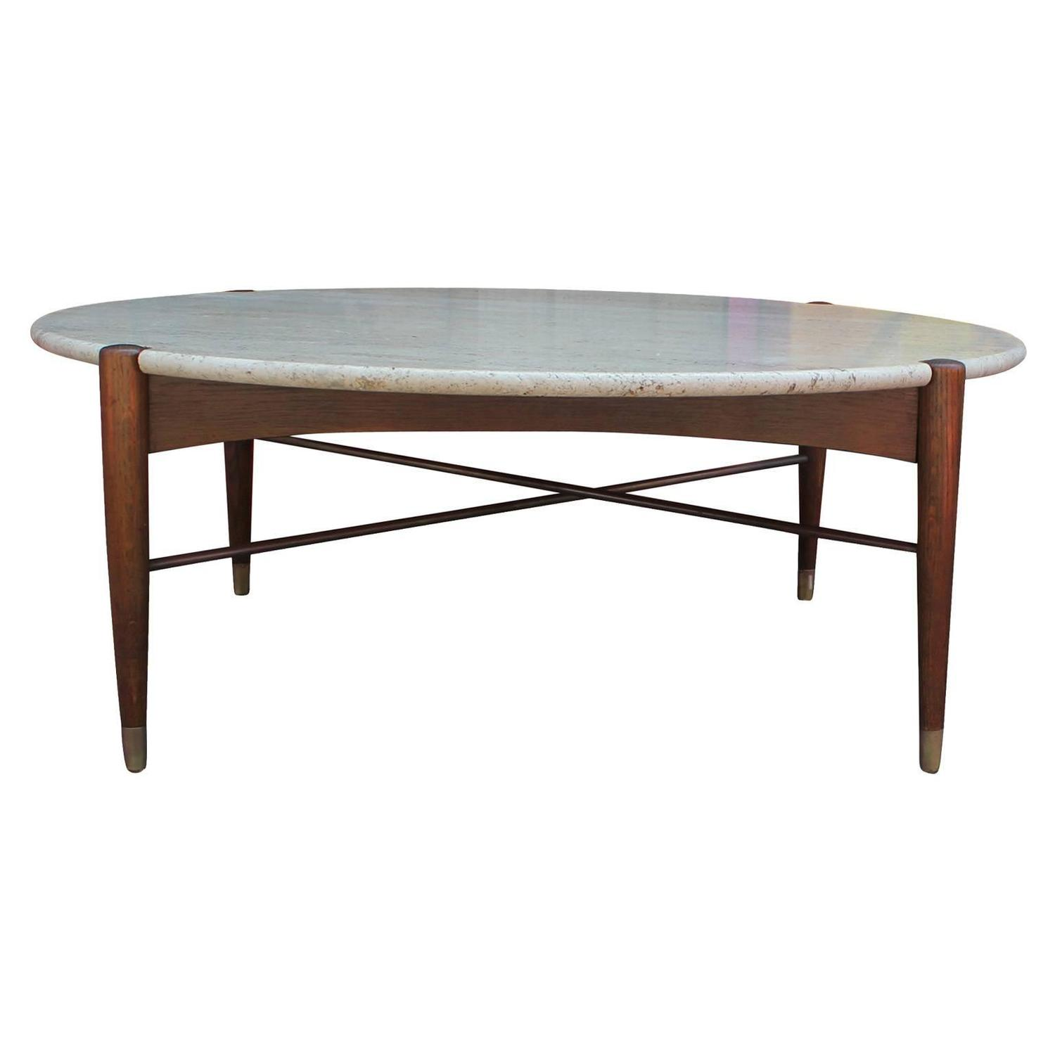 Dux Round Travertine Coffee Table At 1stdibs