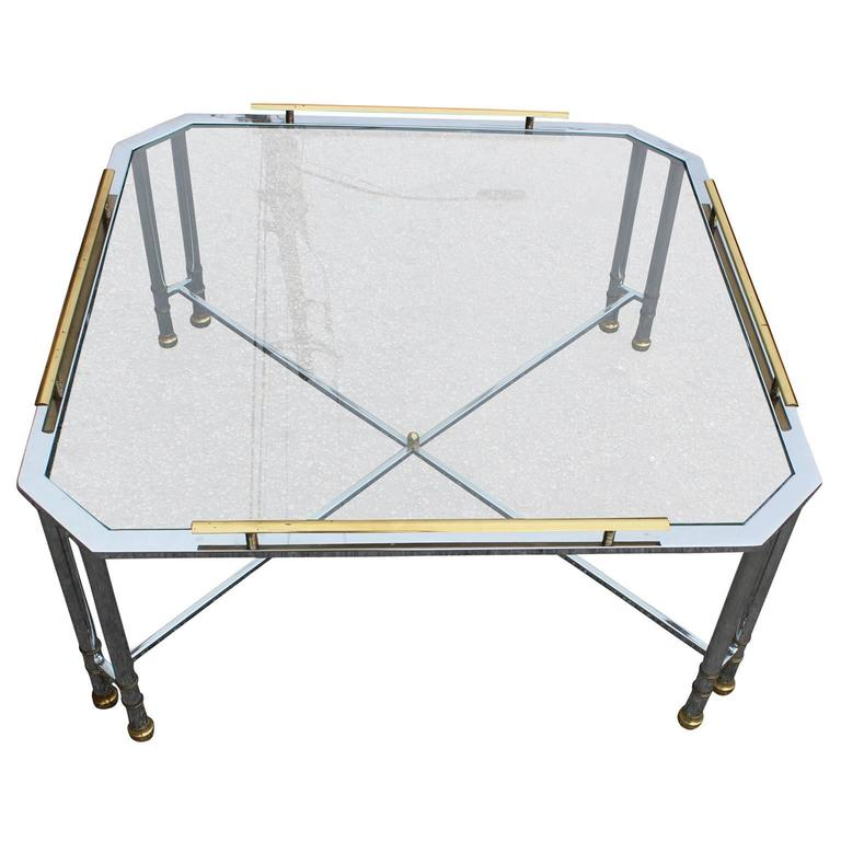 Elegant Modern Chrome Brass and Glass French Square Coffee Table 2