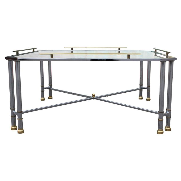Hollywood Regency Elegant Modern Chrome Brass and Glass French Square Coffee Table For Sale