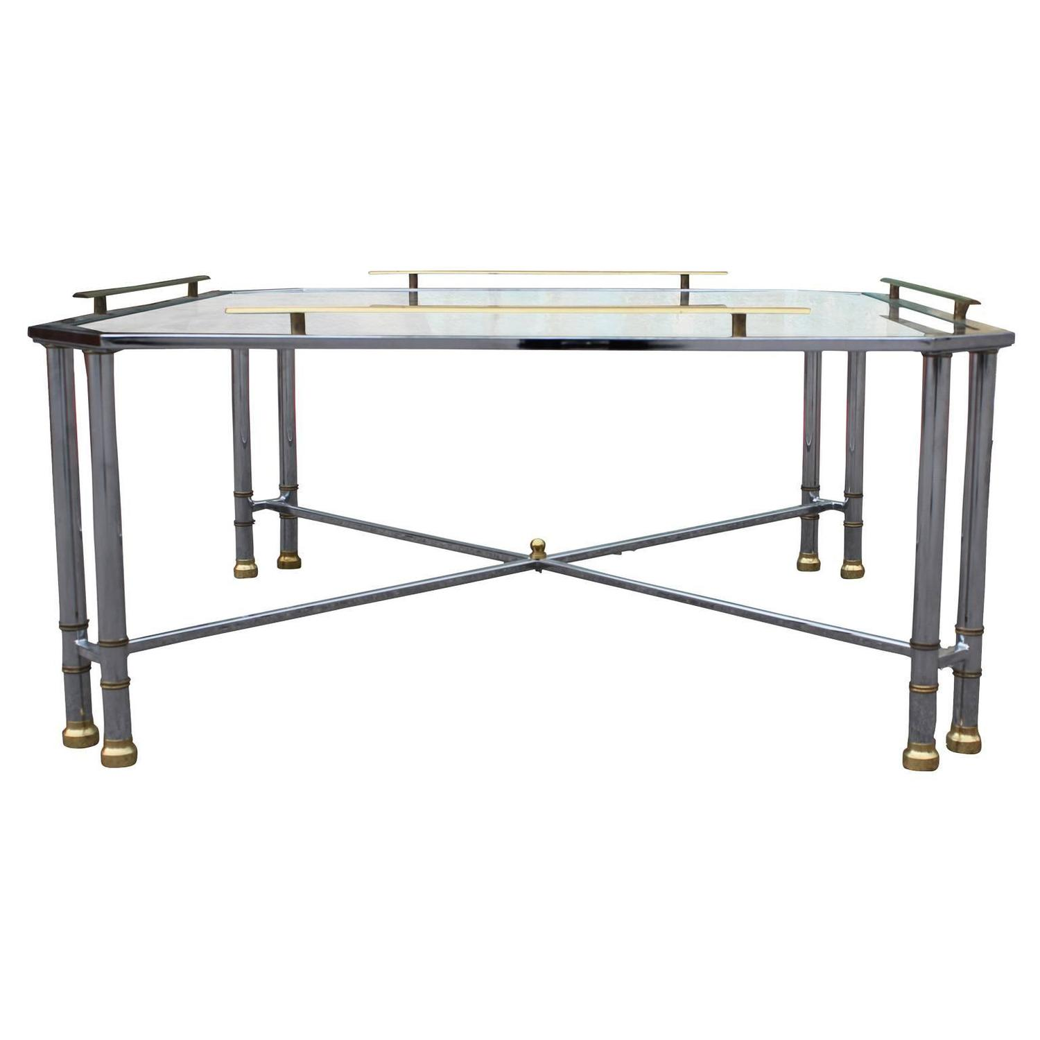 Elegant Chrome Brass And Glass French Square Coffee Table For Sale At 1stdibs