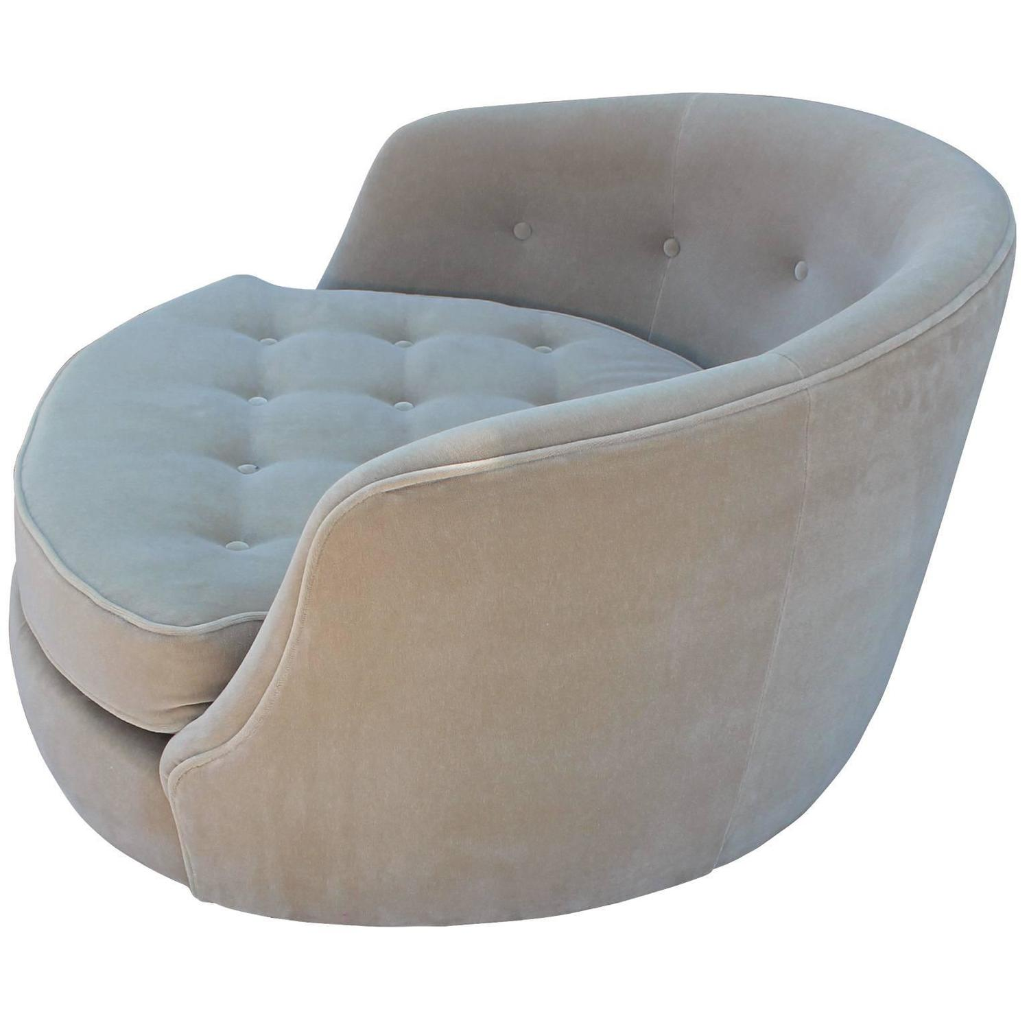 Magnificent Milo Baughman Circle Swivel Lounge Chair in Mohair at 1stdibs