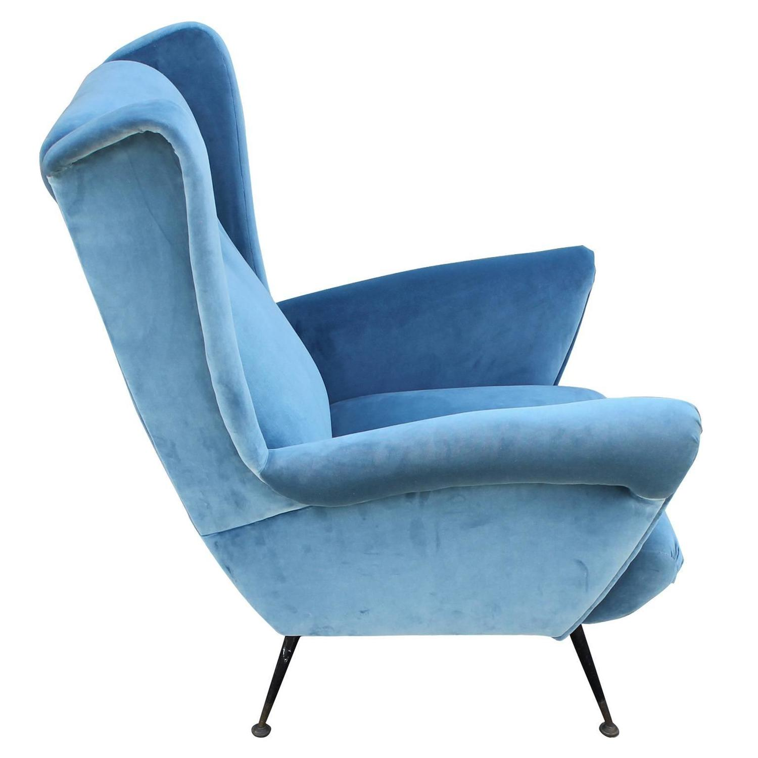 Fabulous pair of italian wingback lounge chairs in blue velvet image 5