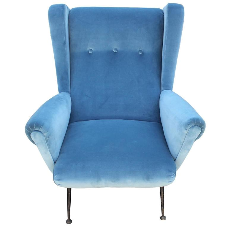 Fabulous pair of italian wingback lounge chairs in blue velvet image 4