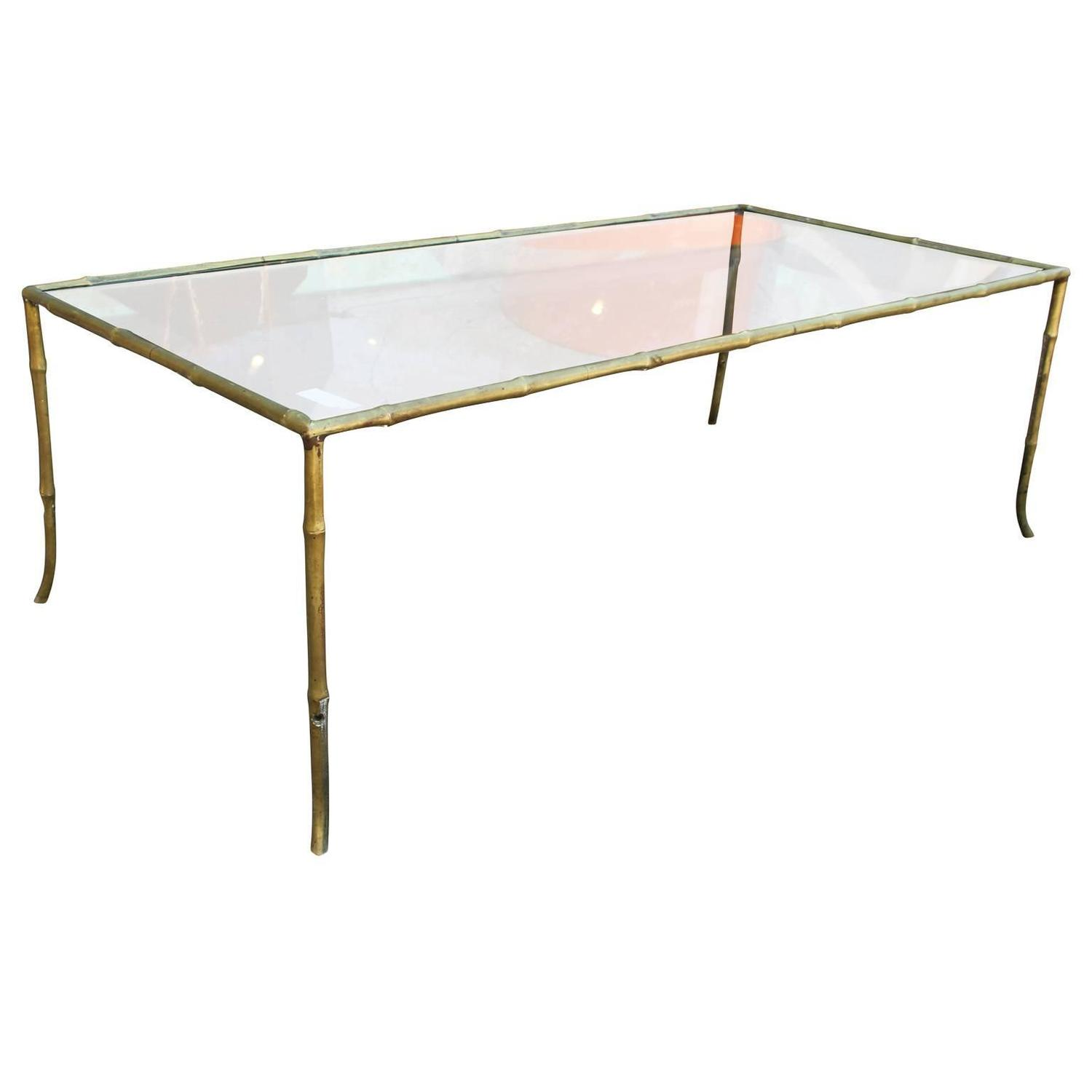 Elegant Brass And Glass Coffee Table: Elegant Brass And Glass Faux Bamboo Coffee Table For Sale