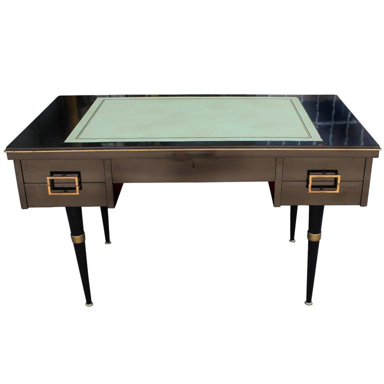 Modern Black Lacquer Executive Desk With Brass Accents And Green Writing Surface For