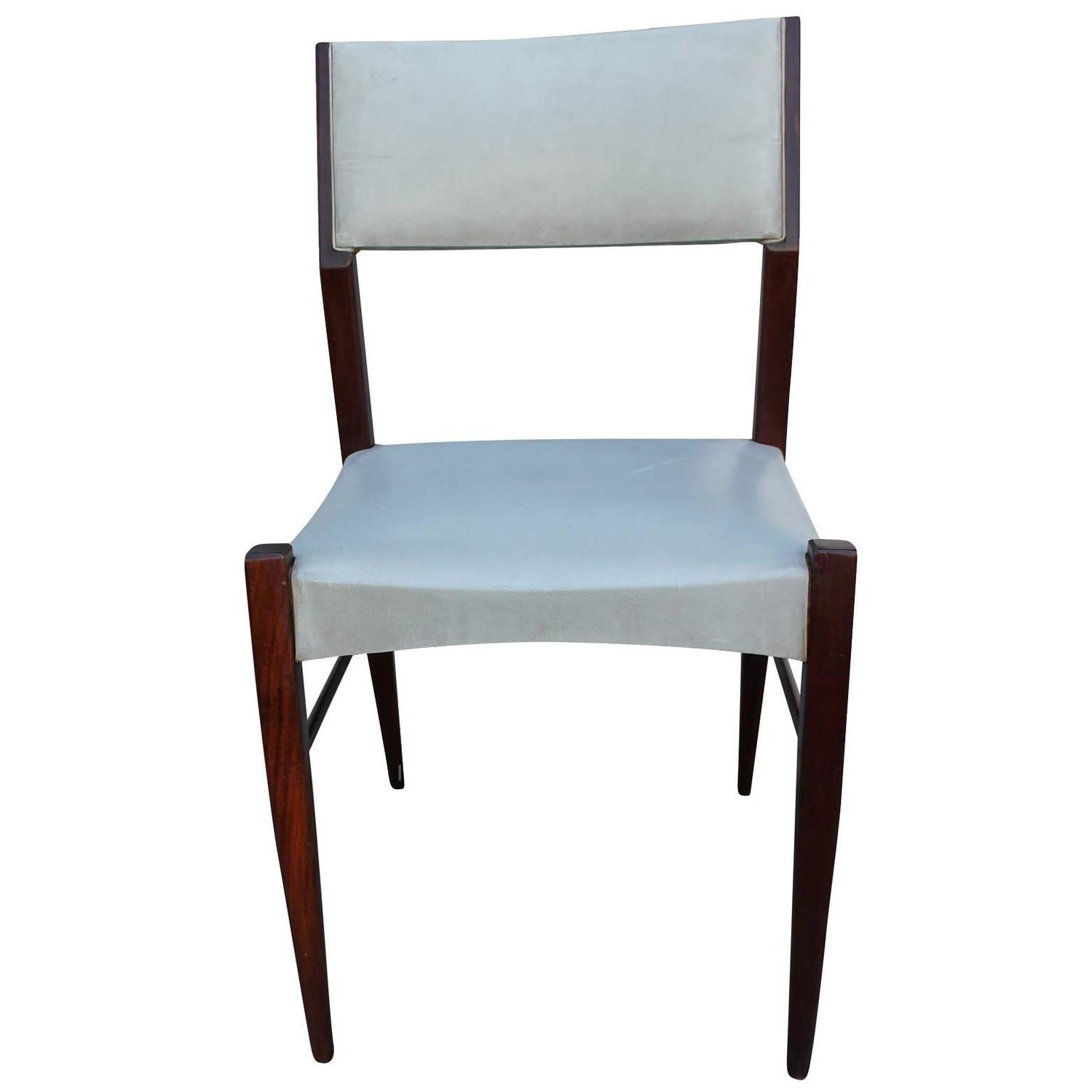 Set Of Six Angular Italian Ponti Style Dining Chairs For