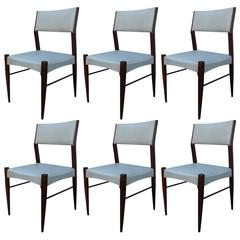 Set of Six Angular Italian Modern Dining Chairs in Grey Faux Leather and Walnut