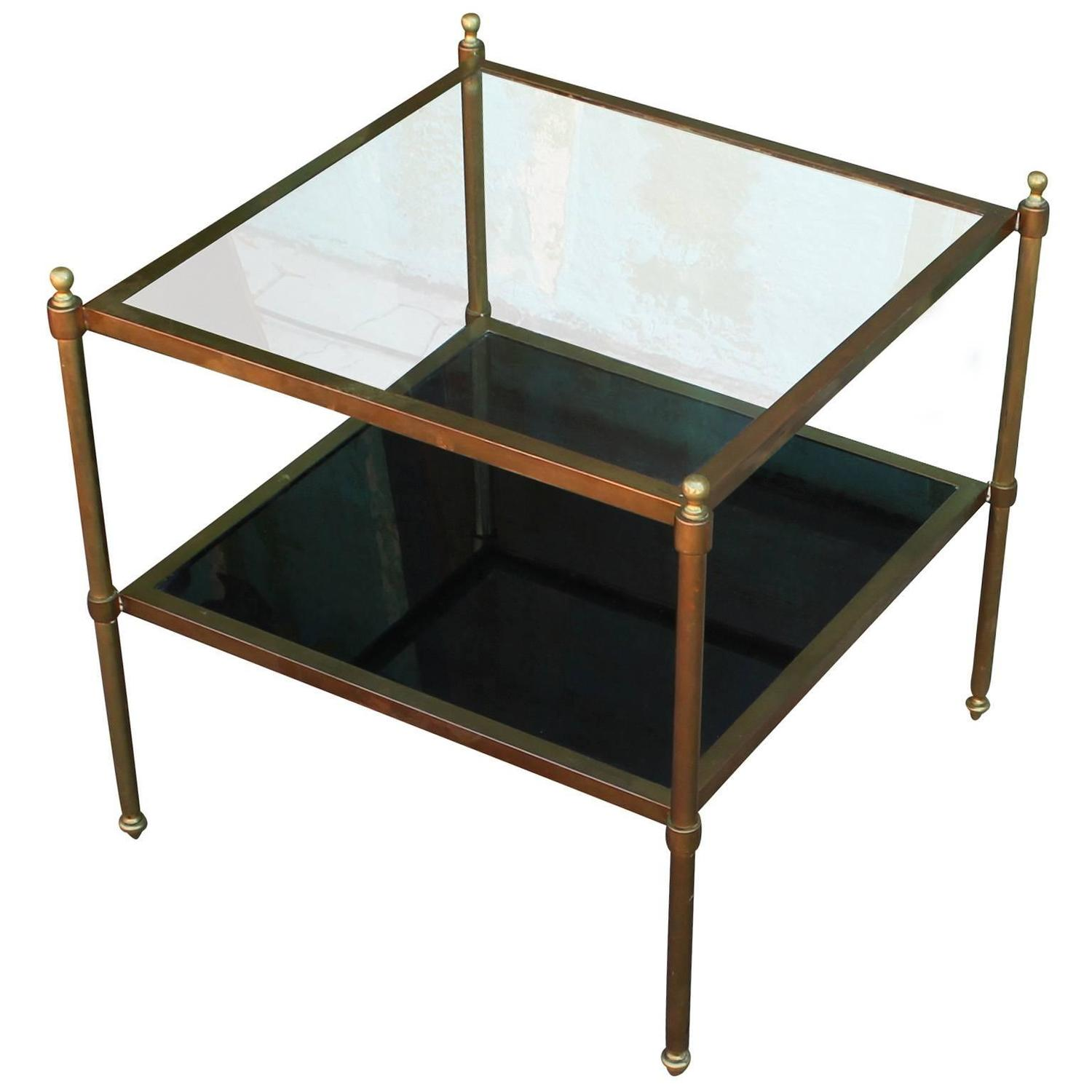 pair of brass and glass end tables at 1stdibs