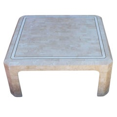 Modern Tessellated Stone and Parchment Sqaure Coffee Table