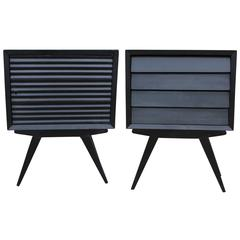 Charming Pair of Black Louvered Nightstands
