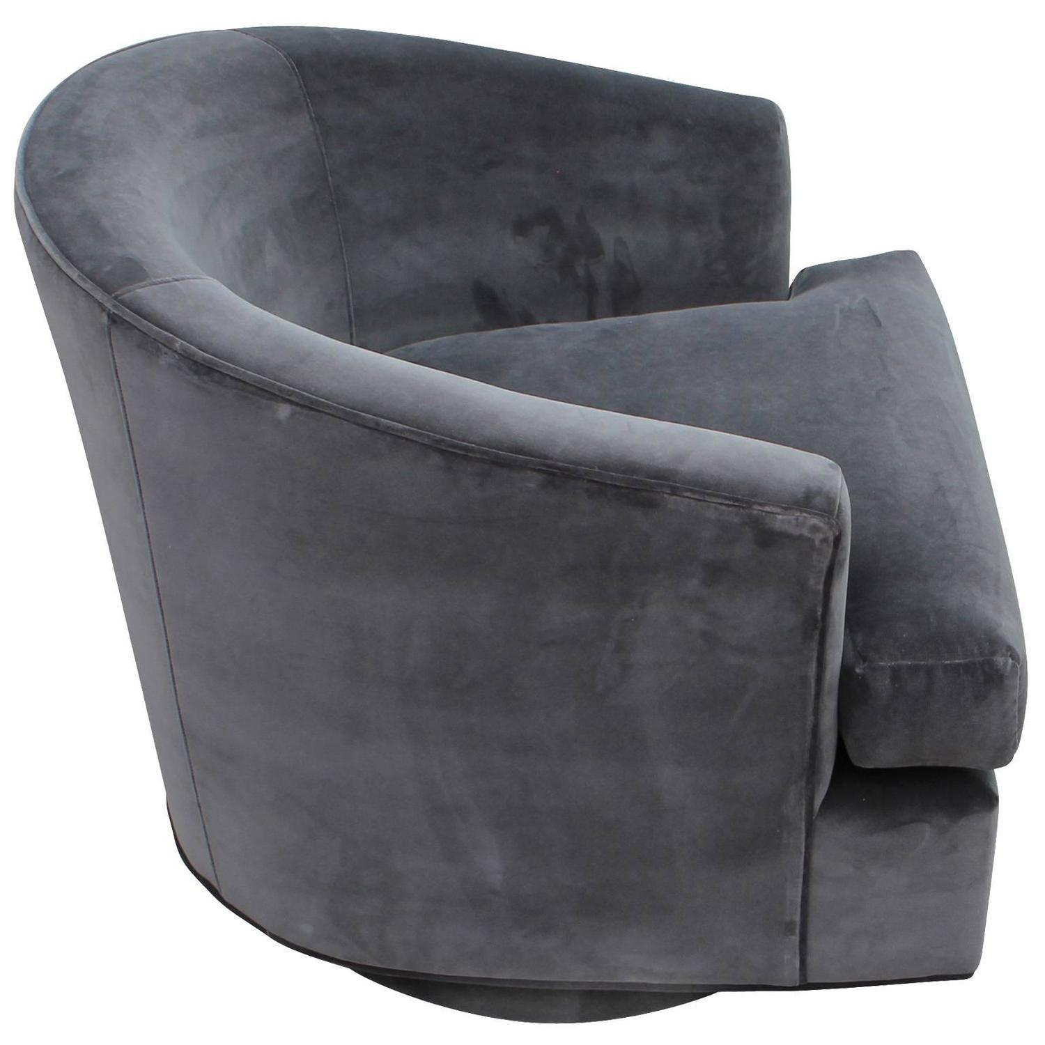Pair of fully upholstered barrel back grey swivel chairs at 1stdibs