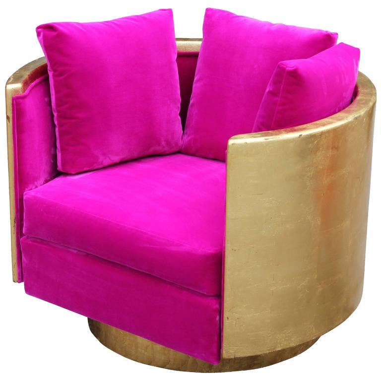 Ultra Glam Modern Gold Leaf and Hot Pink Velvet Swivel Lounge Chair 3