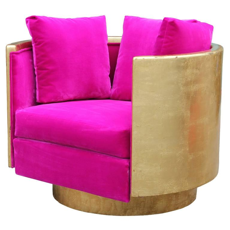 Ultra Glam Modern Gold Leaf and Hot Pink Velvet Swivel Lounge Chair For Sale