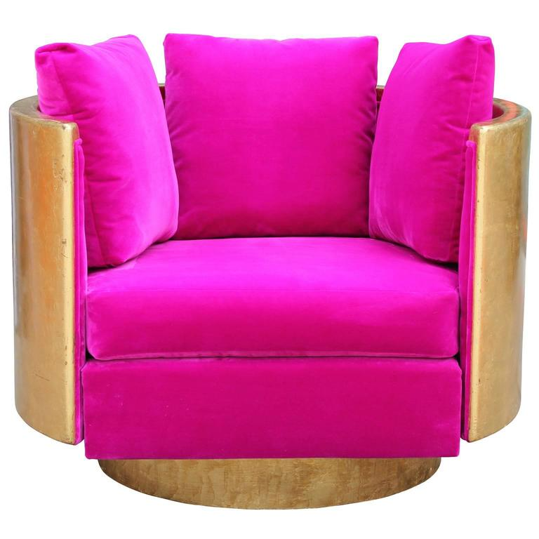 ultra glam modern gold leaf and hot pink velvet swivel lounge chair for sale at 1stdibs. Black Bedroom Furniture Sets. Home Design Ideas