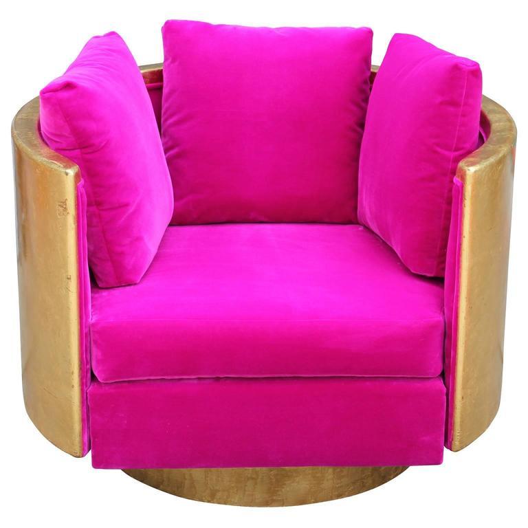 Ultra Glam Modern Gold Leaf and Hot Pink Velvet Swivel Lounge Chair 4