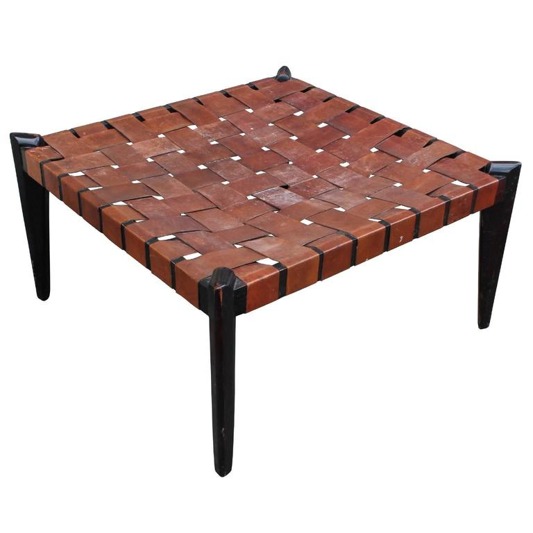 Fabulous Large Square Woven Leather Bench Or Ottoman At 1stdibs