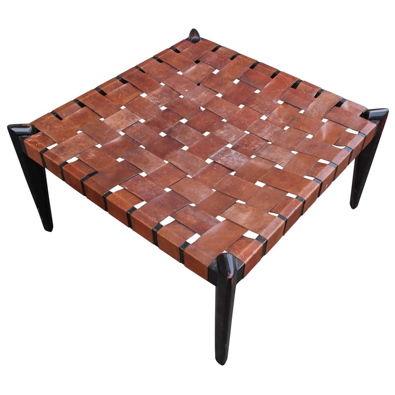 Fabulous Large Square Woven Leather Bench Or Ottoman At