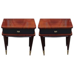 Pair of Modern Two Toned French Nightstands with Brass Accents