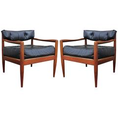Sculptural Pair of Adrian Pearsall Walnut Lounge Chairs