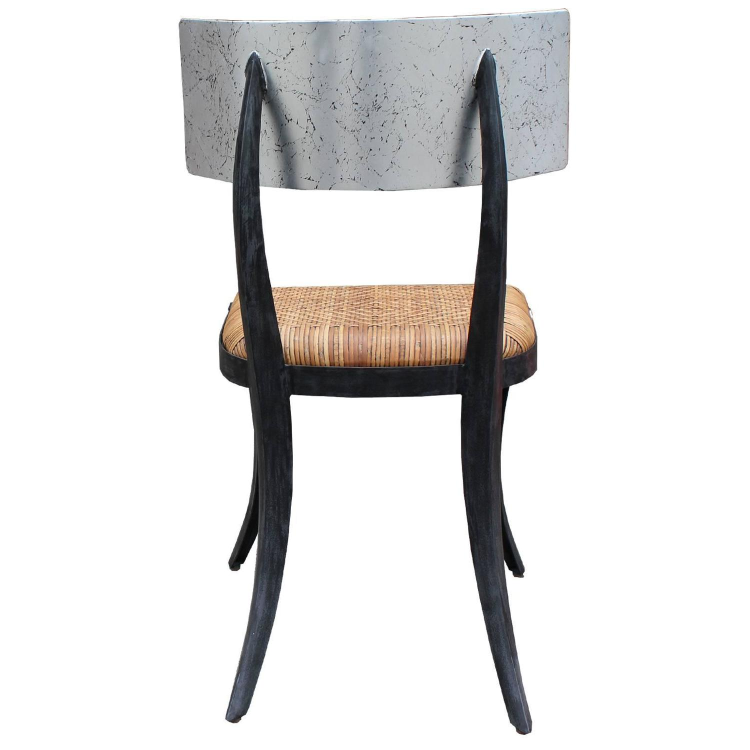Fabulous Steel Klismos Chair with Woven Leather Seat For