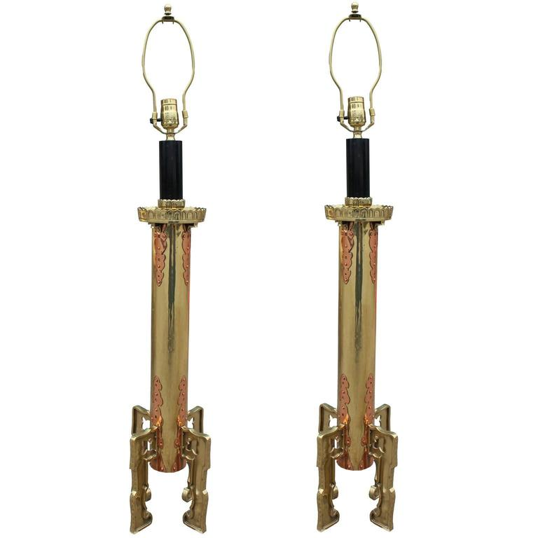 Fabulous Pair of Modern Large Brass and Copper Table Lamps