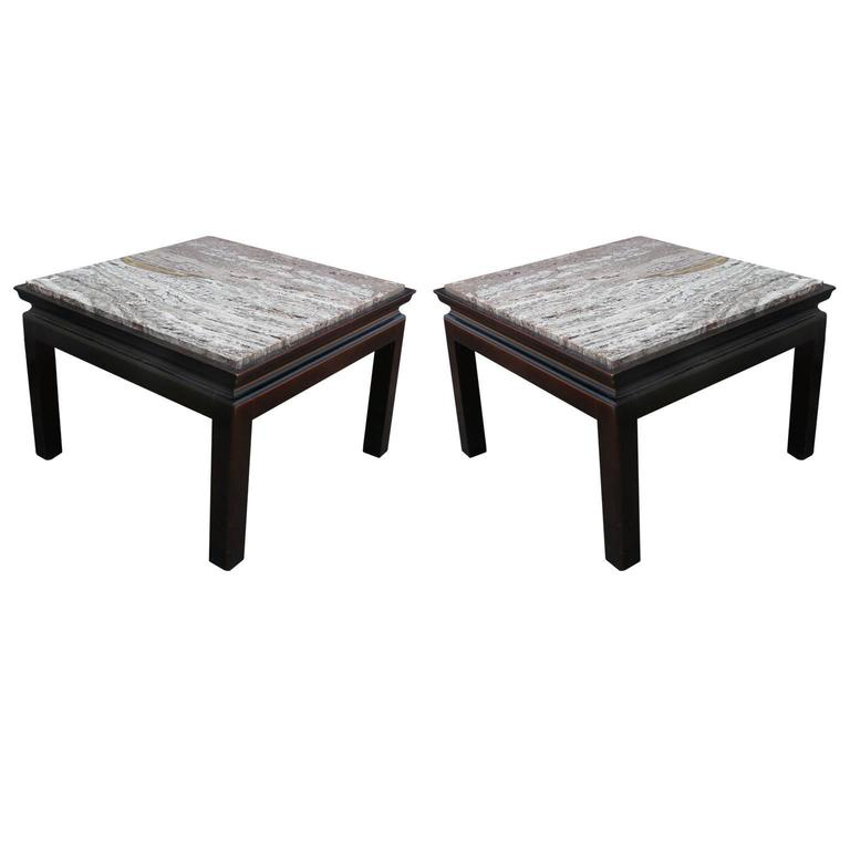 Elegant Pair of Modern Square Marble Top Widdicomb Side Tables with Walnut Bases