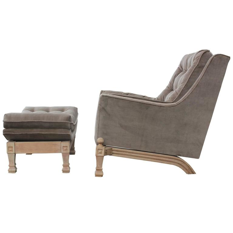 Modern Bleached Tufted Grey Velvet Lounge Chair with