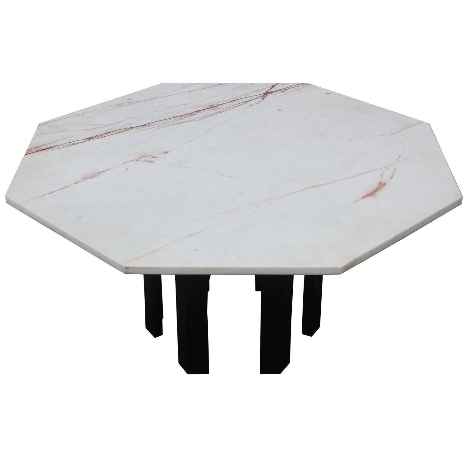 Harvey Probber Marble Top Rectangular Coffee Table W: Harvey Probber Marble-Topped Octagon Coffee Table For Sale