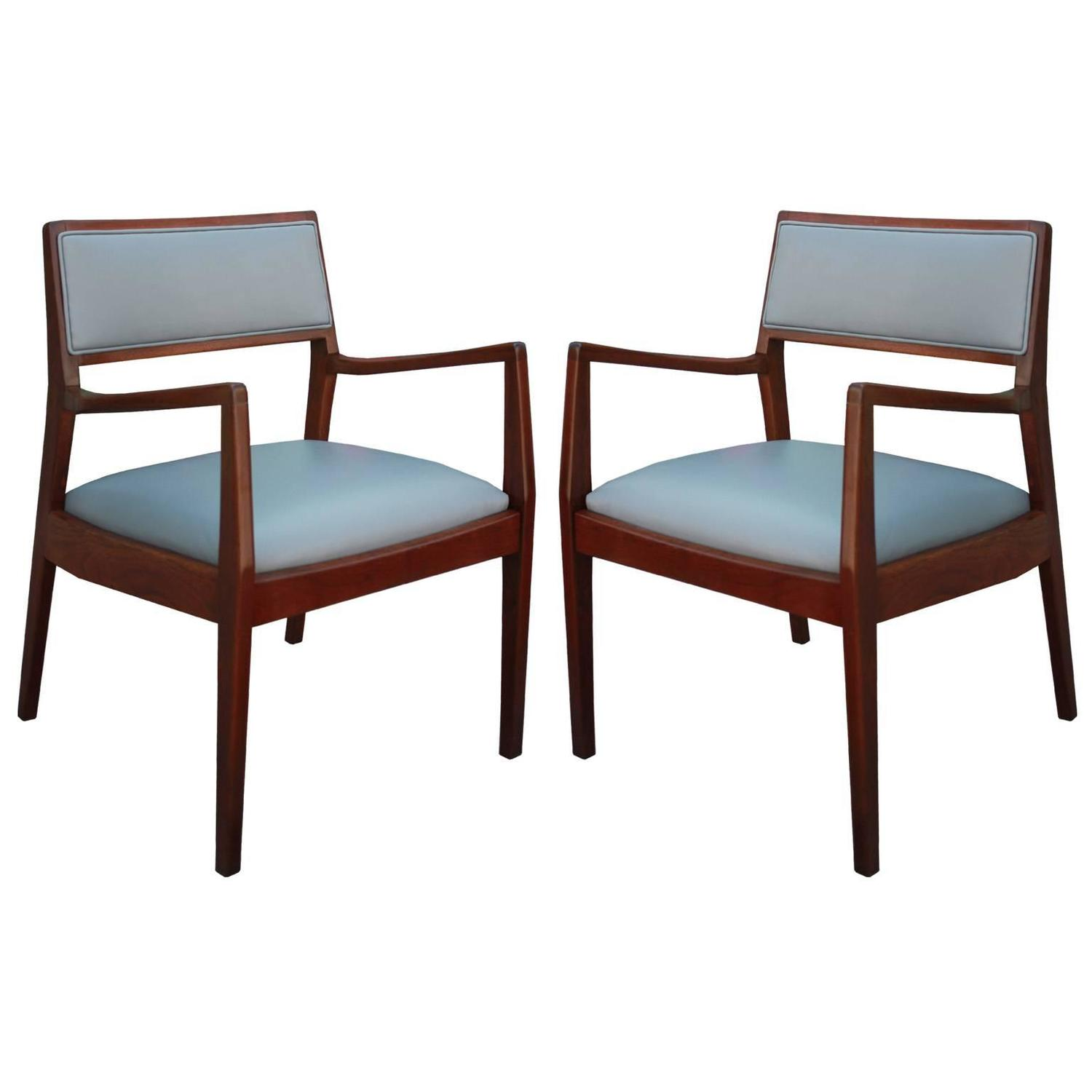 pair of walnut jens risom lounge chairs in grey leather at 1stdibs