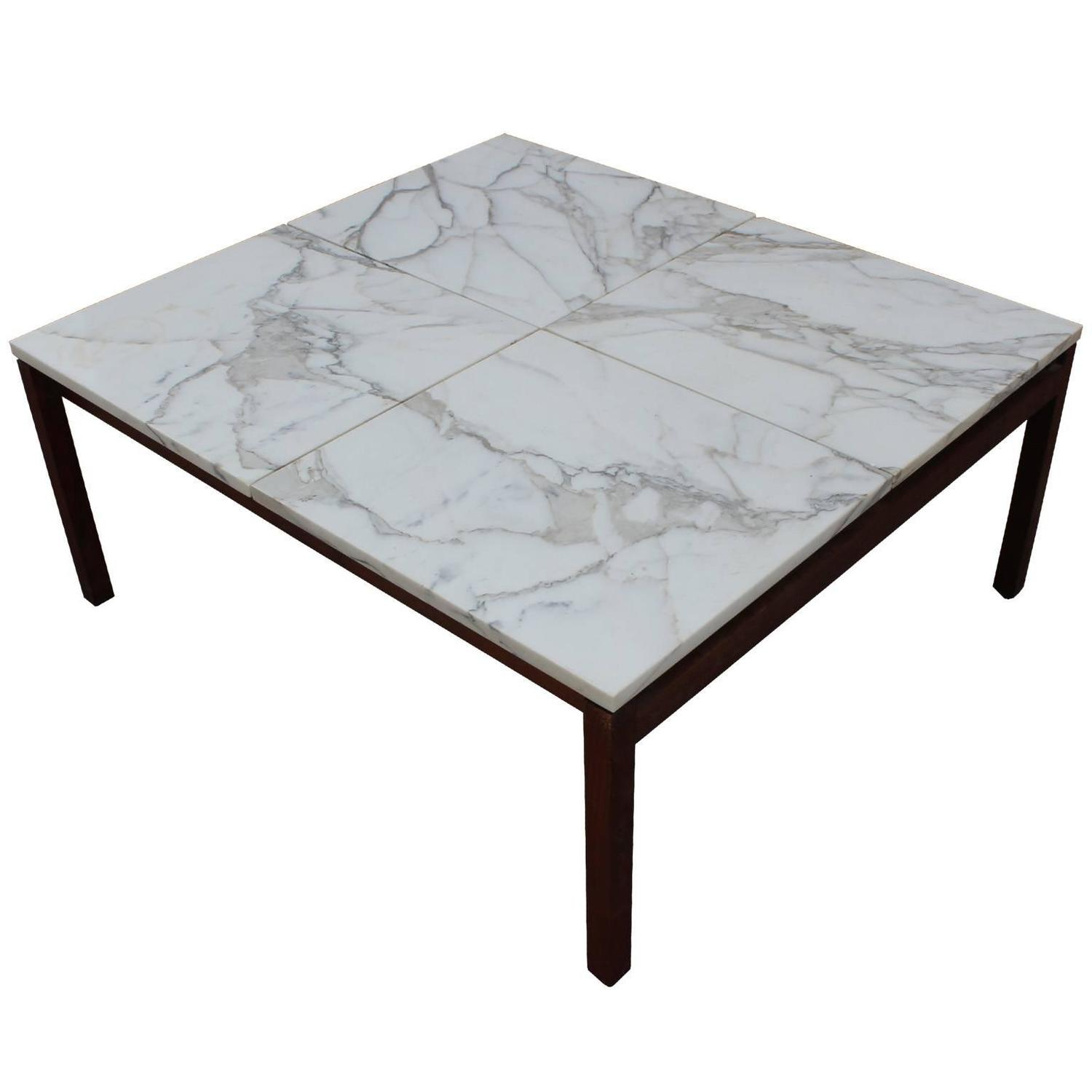 Stunning Marble Square Knoll Lewis Butler Coffee Table For Sale At 1stdibs