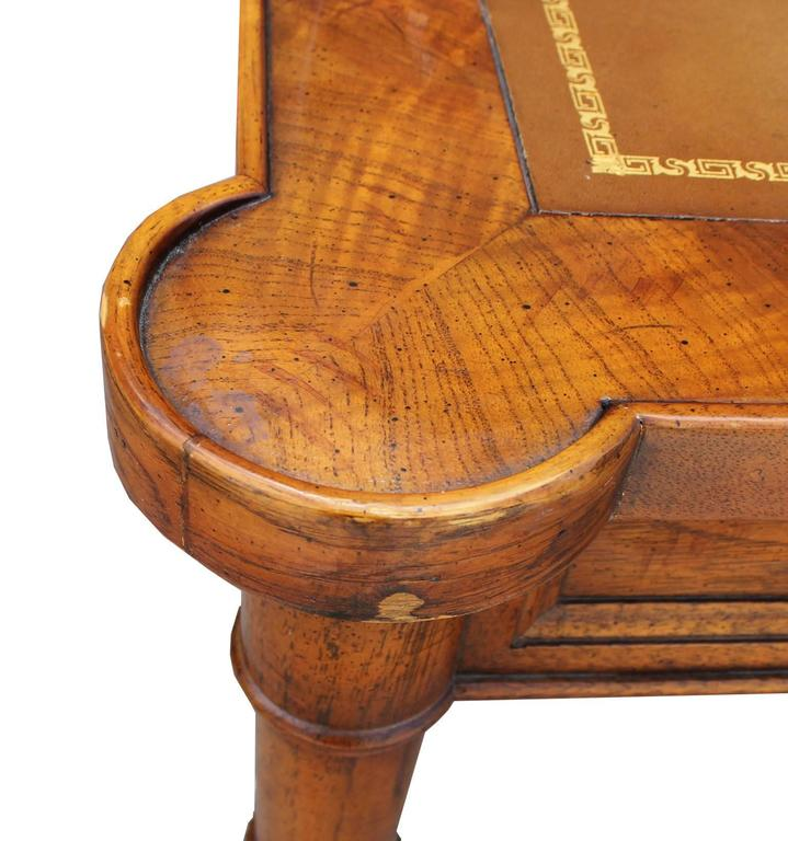 American Faux Bamboo and Leather Burl Square Card Table by Drexel