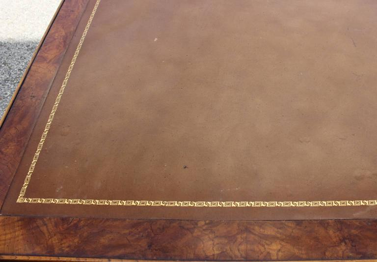 Faux Bamboo and Leather Burl Square Card Table by Drexel In Good Condition In Houston, TX