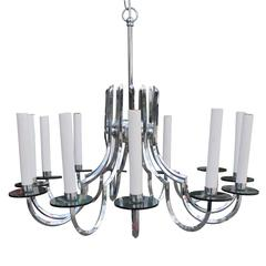 Modern Twelve Armed Chrome and Lucite Chandelier with Smoked Glass Detailing