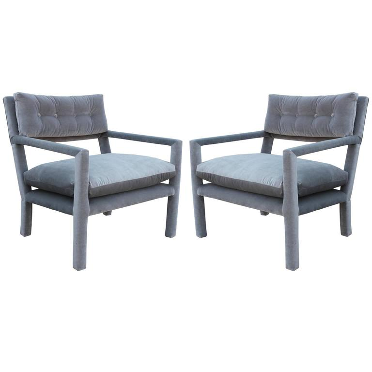 Fabulous Pair Of Modern Milo Baughman Style Parsons Grey Velvet Lounge  Chairs For Sale