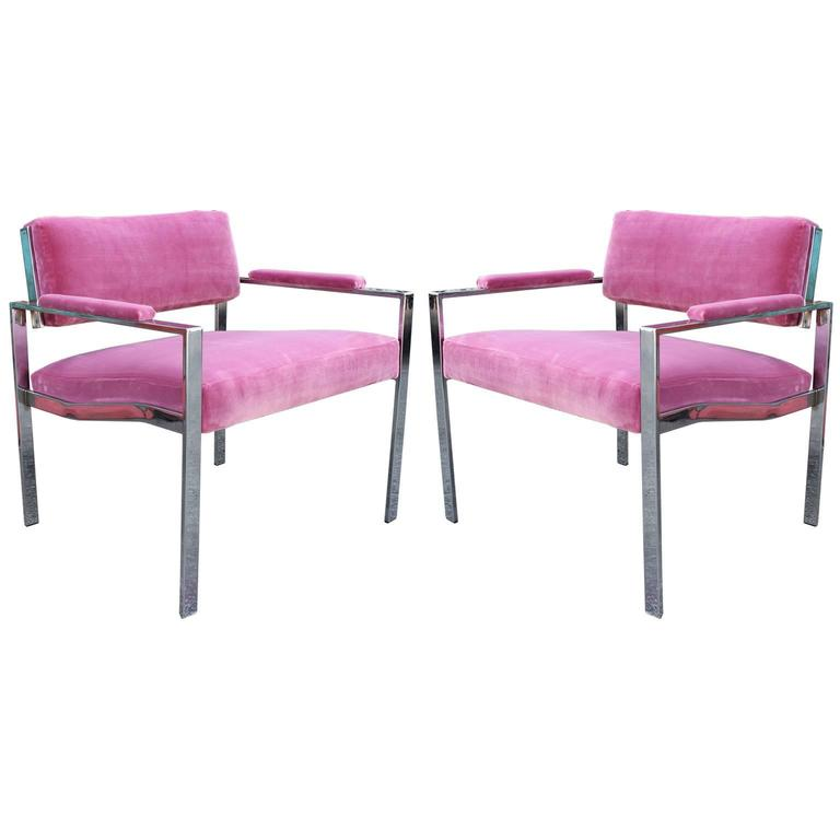 Pair of Modern Milo Baughman Pink Velvet Chrome Lounge Chairs