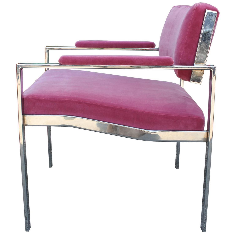 Glamorous Pair of Milo Baughman Style Pink Velvet Chrome Lounge Chairs For Sa
