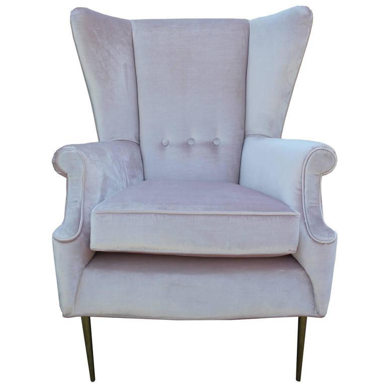 Luxe Pair Of Brass Legged Modern Italian Wingback Chairs